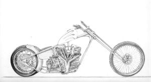 Concept chopper drawing by Z-Vincent