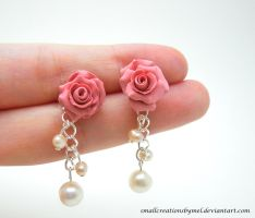 Pink Rose Earrings by SmallCreationsByMel