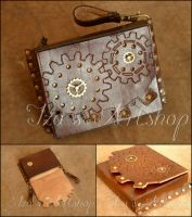 Small Steampunk Leather Belt Bag V by izasartshop