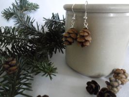 Real Hemlock PineCone Earrings by ShelbyGT-500KR