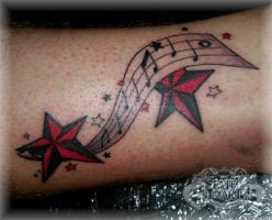 Music notes and stars by state-of-art-tattoo