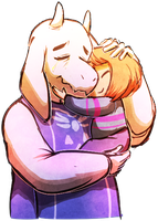 Toriel and Frisk Embrace by psychohog
