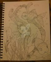 Goldfish line drawing by jessicafrias