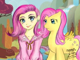 Fluttershy Human and Pony -Tanweenie by mamaungcorn