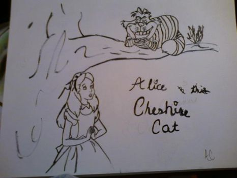 Alice and the Cheshire Cat (uncoloured) by Cowgrl94