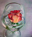 rose in wine glass -color by megan-alyce