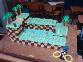 Green Hill Zone Cake by Sega-Club-Tikal