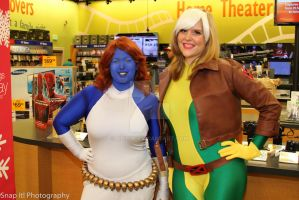Rogue and Mystique by abisue