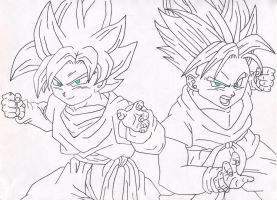 Goten and Trunks by leaxed