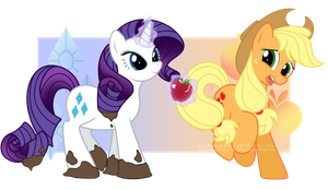 Rarity and Applejack Reversed by ImmortalTanuki