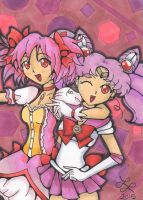 Pink Overload: Madoka and Sailor Chibimoon [+SP] by MissKeylara