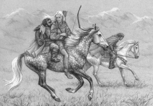 Legolas and Gimli on horseback by FantasyAxiA