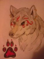Spiritual Grey Wolf and Paw Print by Darkbullfrog