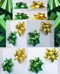 Christmas Decorations.Green and Yellow Bows by mangorielle