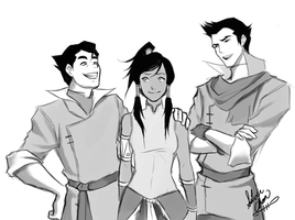 Legend of Korra - Trio Sketch 2 by LightSilverstar