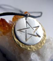 Pentacle Necklace with Brass by MoonLitCreations