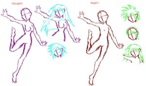 Base Sketches WIP by Sekarin