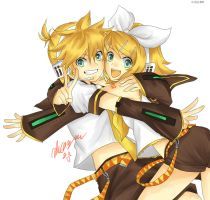 Kagamine twins by Obatachan24