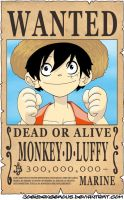 WANTED Dead or Alive - Monkey D. Luffy by JoeyDangerous