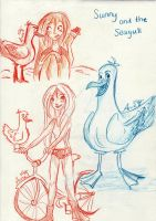 Sunny and the Seagull - Sketch by My-Anne