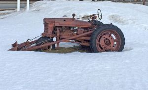 Tractor in Snow by KarenAld
