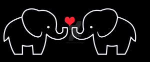 Black and White Elephant Love Design by Debra-Marie