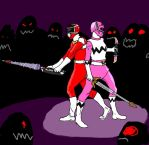 Brother and Sister Rangers in battle by SilverZeo