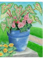 Blue Pot with Flowers by jesus-at-art