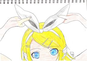 Rin Kagamine (coloured) by kawaii-kura-blossom