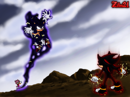 Shadow Vs Dark Sonic by grim-zitos
