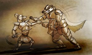 Battle Sketch: Rat vs. Badger by Temiree