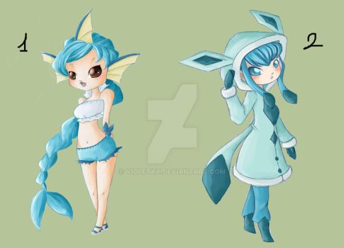 Vaporeon and Glaceon Gijinka ADOPTABLES ( CLOSED ) by VioletKy