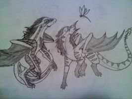 Sketch Trade: Kiraga and Noiraak by DragonThunderstorm