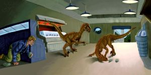 Alan outruning the Raptors by jurassicpark