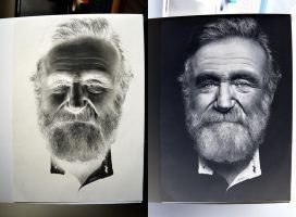 Robin Williams Negative Drawing by MrYorkie