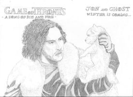 Jon Snow and Ghost by Junior-Rodrigues