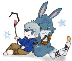 ROTG: Bunnymund and Jack Frost by Nero-TheDevilBringer