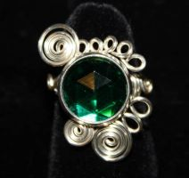 Adjustable Wire Wrap Emerald Green Rhinestone Ring by Create-A-Pendant