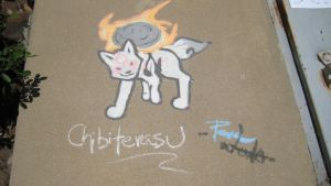 Chibiterasu - Mini Sidewalk Art by PeaceWolfCreations