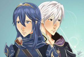 Robin and Lucina - Fire Emblem Awakening by ricecakepanda
