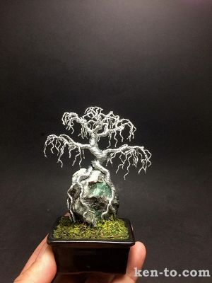 Weeping wire bonsai tree on rock by Ken To by KenToArt