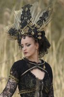 Stock - Gothic Headdress gold  and black  Portrait by S-T-A-R-gazer