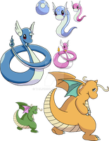 147, 148 and 149 - Dratini Evolutionary Line by Tails19950