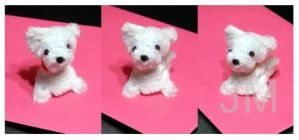 Fluffy Maltanian Dog - Chenille Art by jolabrodnica