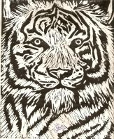 White Tiger i carved out of linoleum by ElocinFloralen