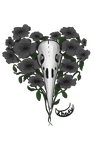 raven's skull and poppies by imkindabusy
