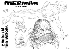 Merman Study by dwaynebiddixart