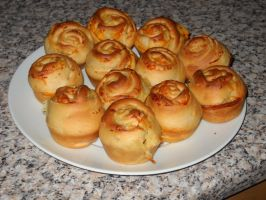 Cheese and Onion Brioche Buns by Bisected8
