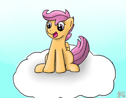 Scootaloo on a cloud by TheMexican9894