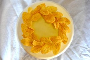 Golden Chocolate Leaves Cake by ladyatropos